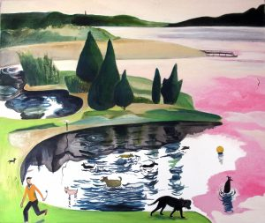Mensch und Hund gehen am See spazieren