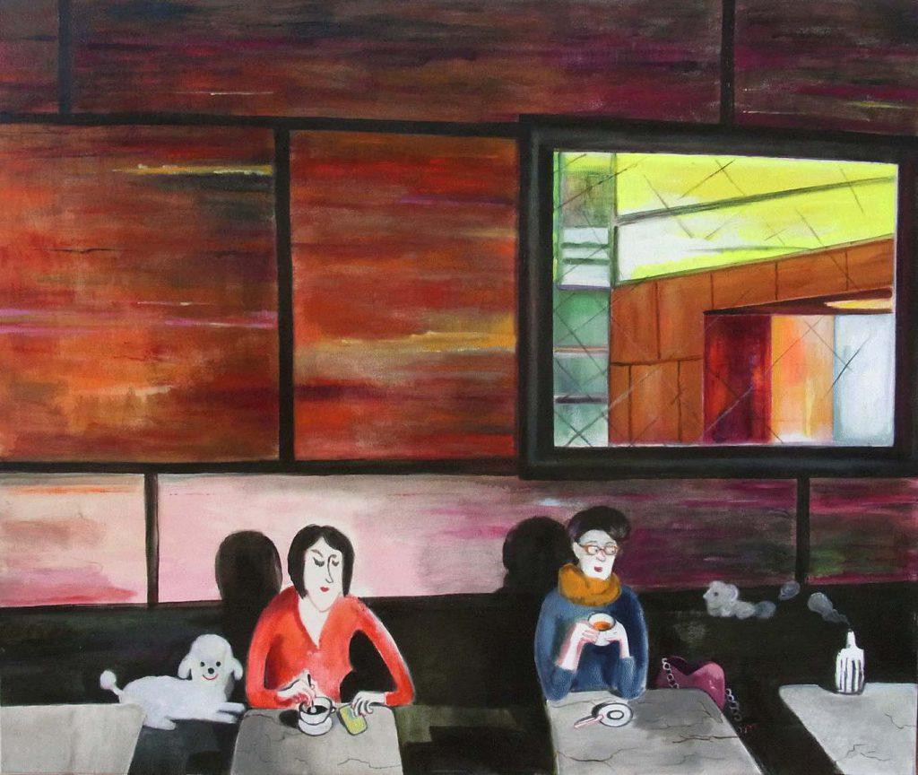 zwei Frauen sitzen im Cafe Grundmann Leipzig