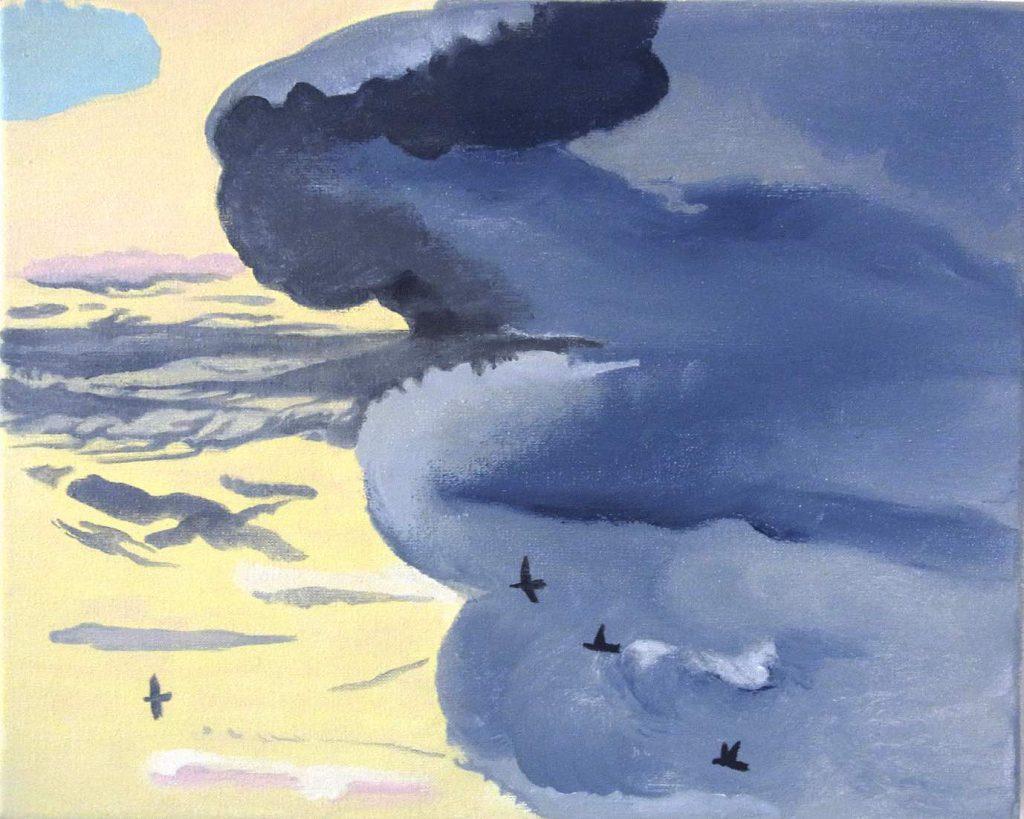 Morgenhimmel violett-gelb mit Vögeln