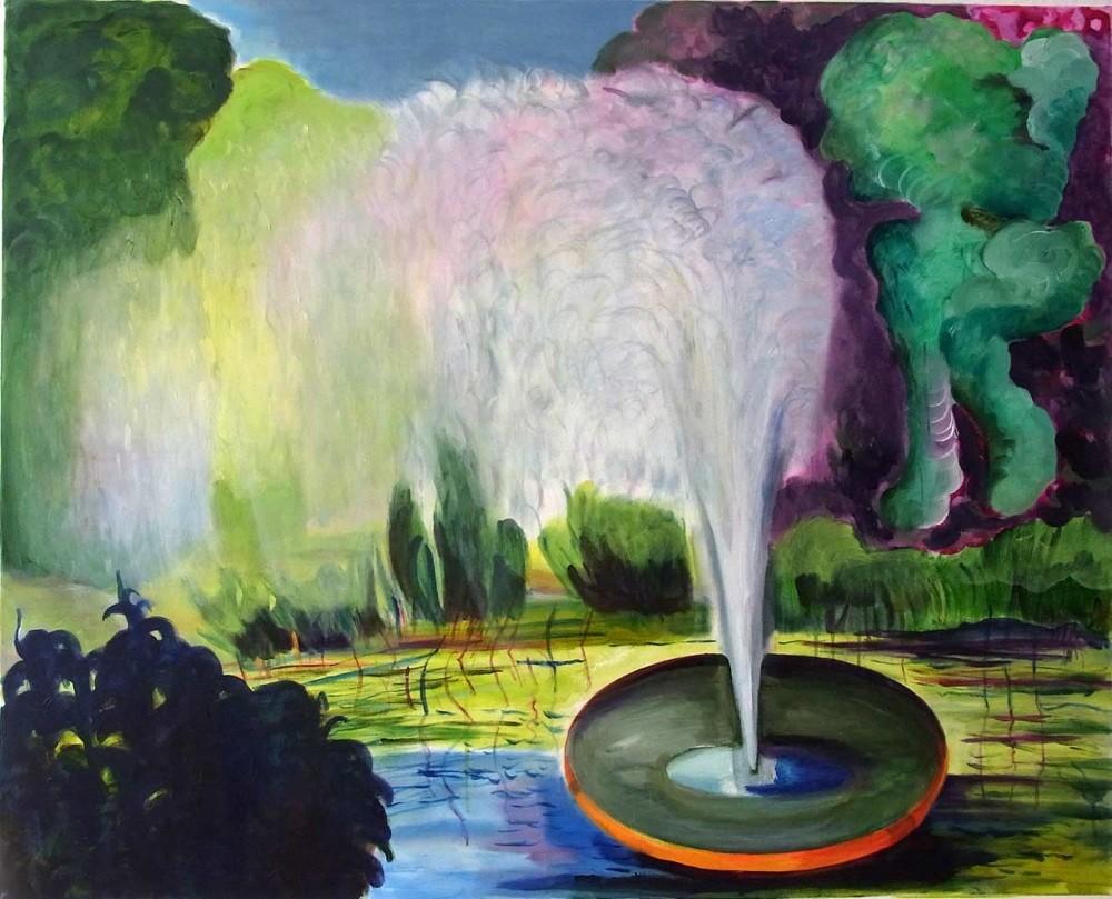 Prächtiger Springbrunnenstrahl vom Winde etwas verweht