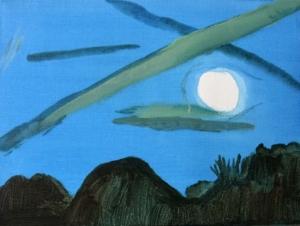 Sommerlicher Vollmond am leuchtend blauen HImmel