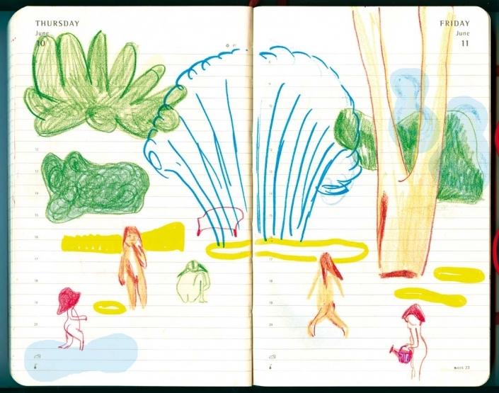Sommerliche Gartenszene: kleine unbekleidete Kinder spielen unter einem Gartensprenger