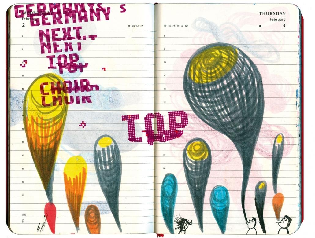 Drei winzige Saenger-Koepfe am unteren Bildrand sondern riesengroße bunte Blasen, die nach Oben streben, ab.violetter Text laeuft ueber das Bild: Germanys next top choir