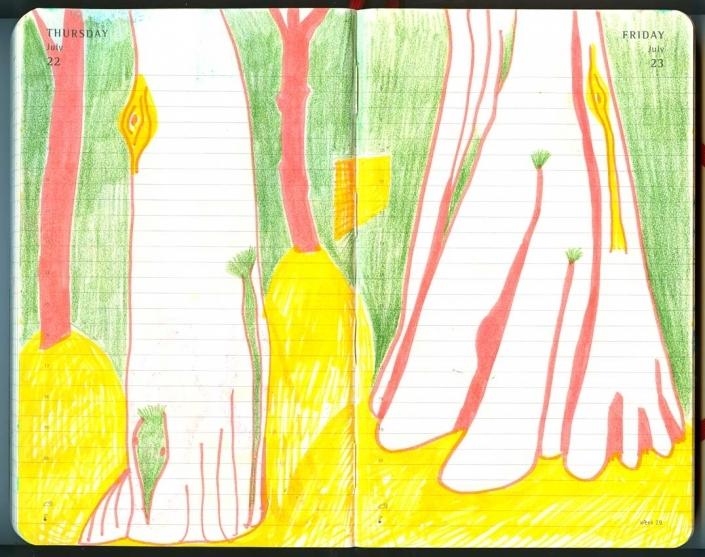 Baume im sonnengefluteten Garten