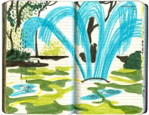 Fontaenenfoermiger Rasensprenger, hellblauer Strahl im sommerlich gruenen Garten