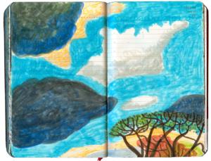 Im unteren rechten Teil des Bildes obere Krone einer Rubinie, darueber fette weiße, dunkelblaue und gelbe Wolken am hellblauen Himmel