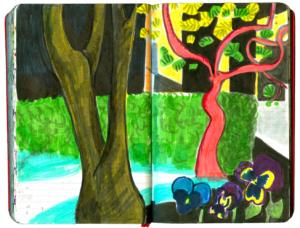 Im Vordergrund links ein olivgruener Stamm einer Esche, hinten rechts ein tanzend aussehender roetlicher Magnolienbaum
