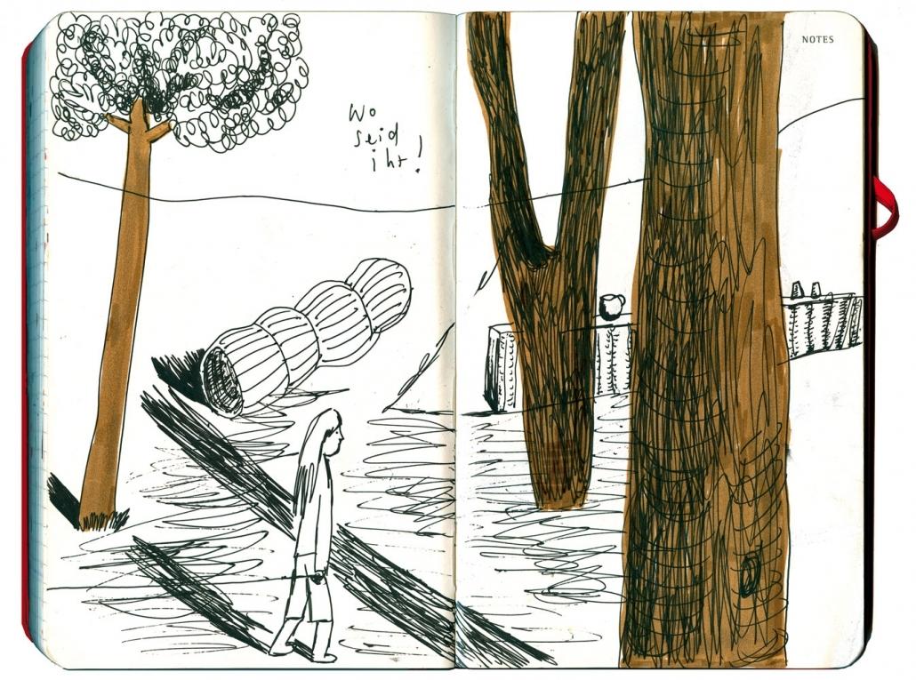 Maedchen mit Hund an der Leine (Hund außerhalb des BIldes, nur die Leine sichtbar, zwischen großen Baeumen, Freunde suchend