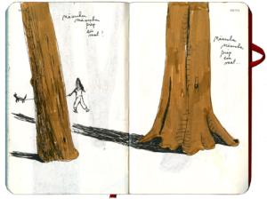 ein kleines Maedchen mit Hund an der Leine zwischen zwei großen Baumstaemmen, jemanden suchend