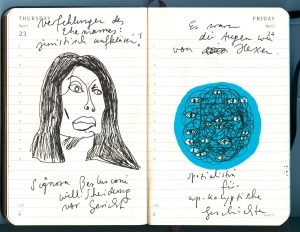 Portrait Signora Berlusconi, Zeichnung schwarz-weiß