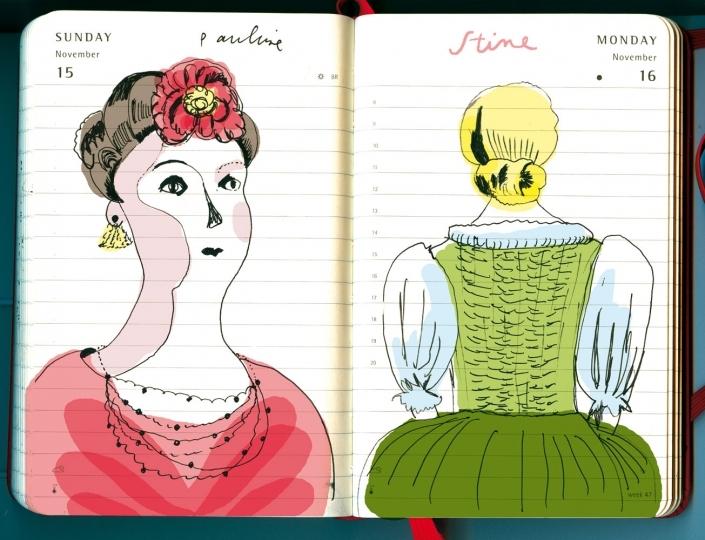 Zwei altmodische pueppchenhafte Frauenfiguren einer Erzählung von Fontane