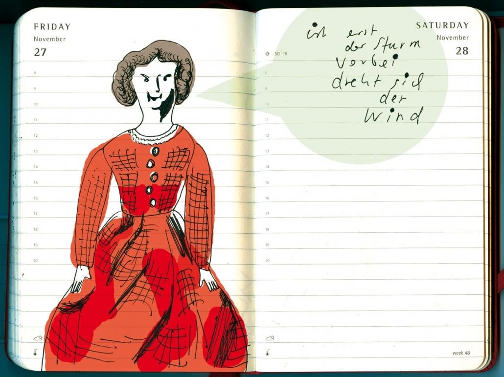 """eine dunkelhaarige pueppchenhafte Frauenfigur aus dem roman """"Stine"""" von Fontane"""