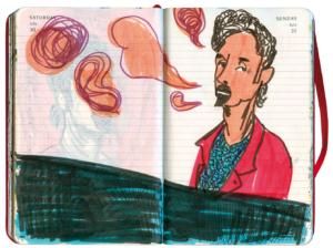 T. C. Boyle sitzt am Klavier und singt, farbige Tuschezeichnung