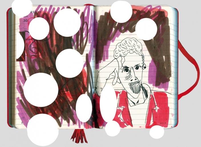 T. C. Boyle Portrait vor dunkelm HIntergrund mit weißen Kreisen ueber das Bild verteilt