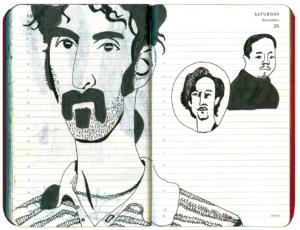 Drei Männer mit Bart, davon einer Frank Zappa, in schwarz-weiß
