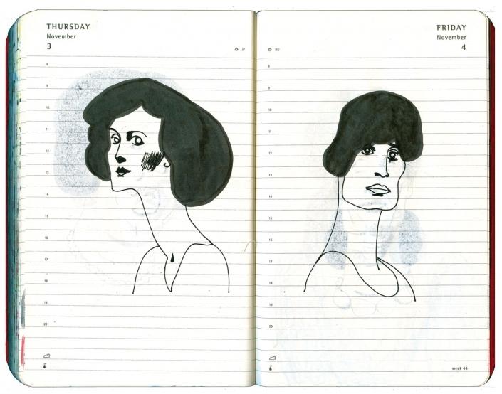 Zwei Frauenportraits mit schwarzer Tusche gezeichnet, von einander abgewandt