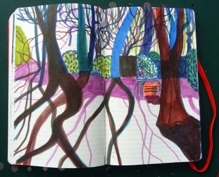 Große Bäume mit Schatten im Nachmittagslicht